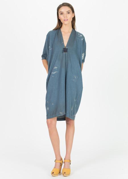 Hazel Brown Distressed Denim Patch Dress