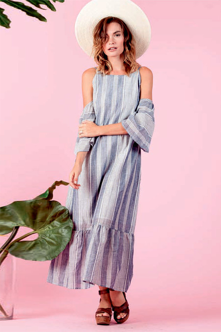 LUCCA Stripe Cold Shoulder Maxi Dress