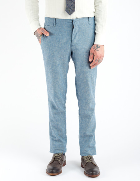18 Waits The Slims Suit Trouser Blue Herringbone Linen