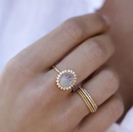 LEAH ALEXANDRA | ANTIQUITY RING IN MOONSTONE