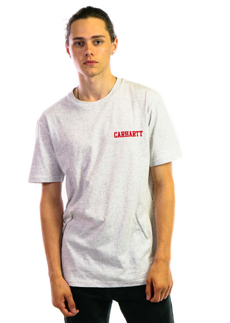 CARHARTT WIP SS College Script T-Shirt - Ash Heather/Chili