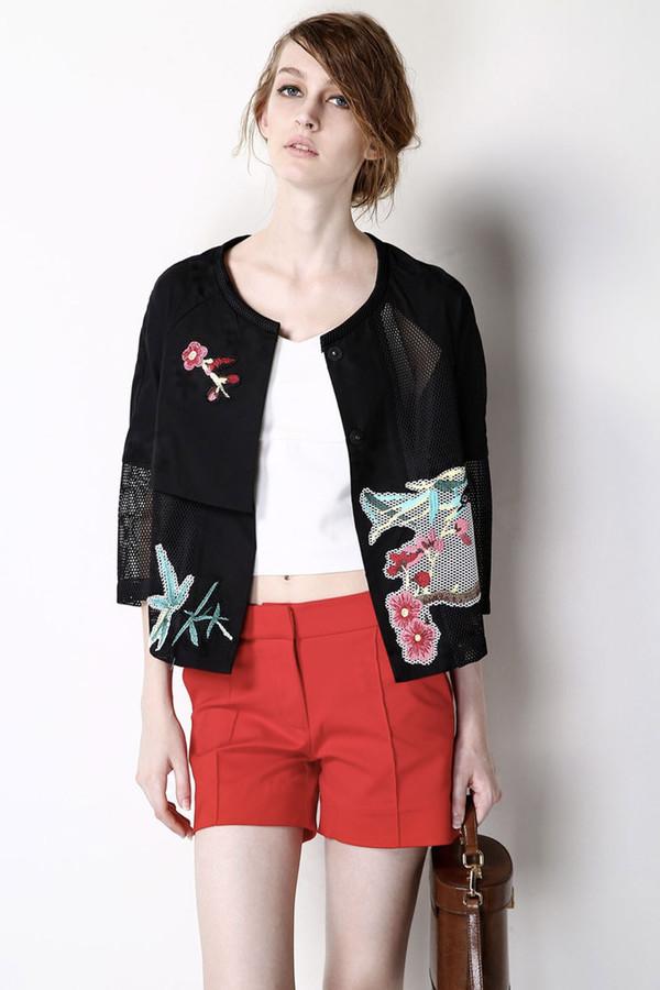 FEW MODA Handmade Embroidered Black Cropped Jacket
