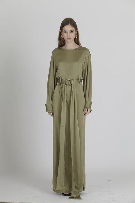 Urbanovitch Sage Silk Belted Gown