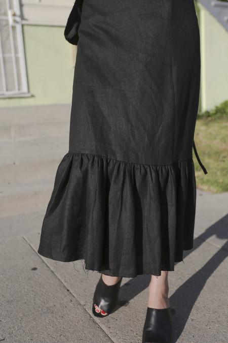 Alexa Stark Linen Gathered Wrap Skirt in Black