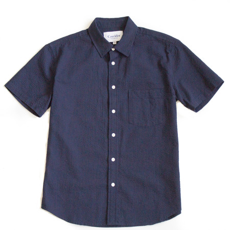 Corridor Navy Seersucker Short Sleeve