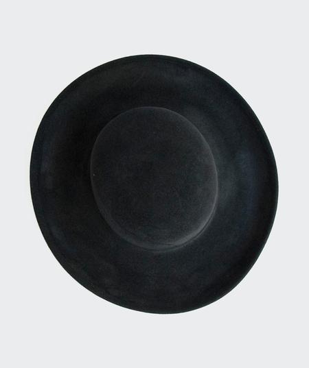Ryan Roche Suede Medium Brim Hat - Black
