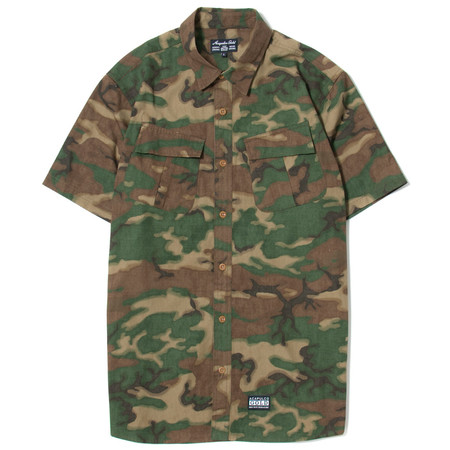 ACAPULCO GOLD MILITARY S/S FIELD SHIRT - WOODLAND CAMO