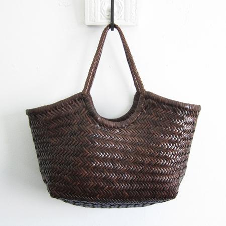Dragon Diffusion woven leather Nantucket basket - dark brown