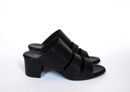HOPP Three Strap Sandal - Black Lizard