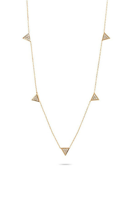 Adina Reyter Super Tiny Solid Pave Triangle Chain Necklace
