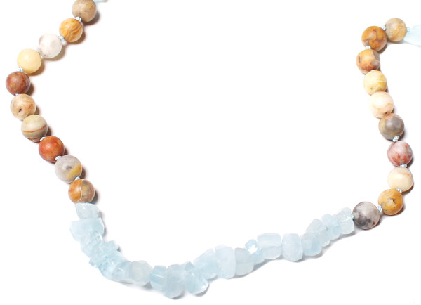James and Jezebelle Aqua Marine, Howlite, + Agate Necklace