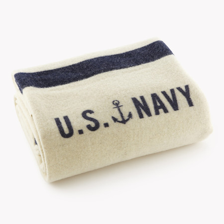 Faribault Foot Soldier Military US Naval Blanket - Cream w/ Blue Stripes