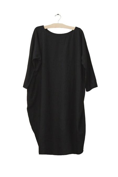 Rachel Craven Textiles Short Cocoon Dress - Black Linen