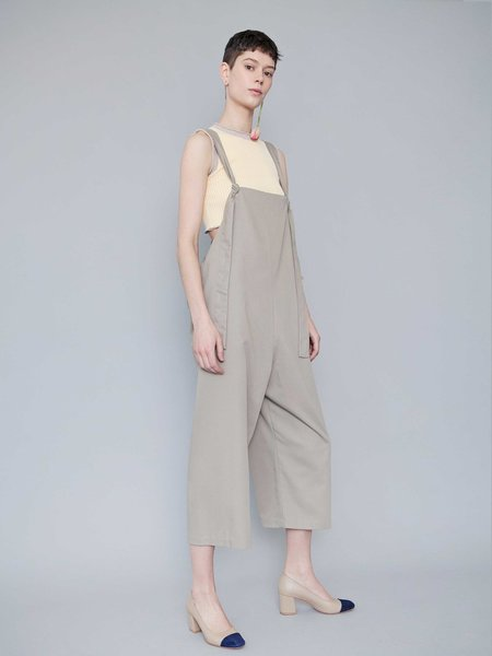 Lera Pivovarova Work Frida Overalls in Almond Milk