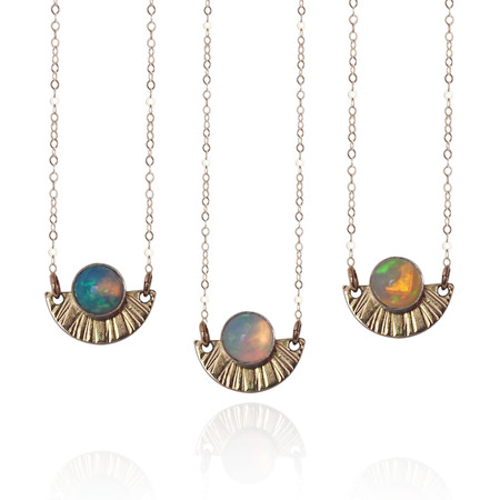 Strut Jewelry Opal Sunburst Necklace