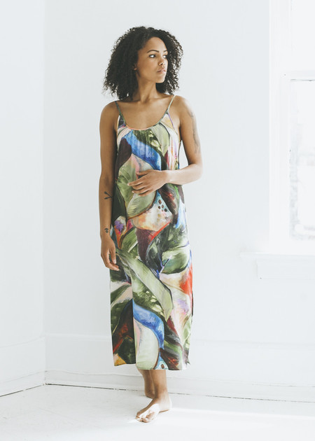 Strathcona Stockings - Painted Palm Silk Slip Dress