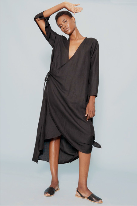 Wray Tie Dress in Black