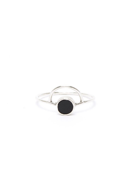 I Like It Here Club Cosmic Ring, onyx/silver