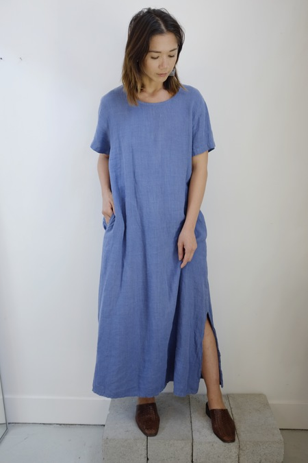 Hey Jude Vintage Steel Blue Linen Dress