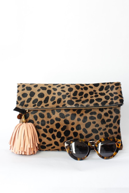 Clare V. Leopard hair on clutch