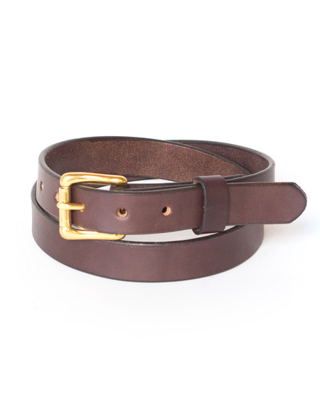 Wood&Faulk Dark Brown Slim Martin Belt