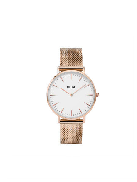Cluse - La Boheme Mesh Watch / White & Rose Gold
