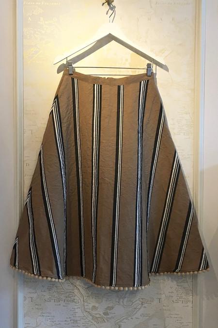 Holy Caftan 'Planeta' Stripe Cotton Linen Skirt with Poms