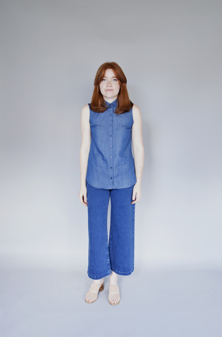 Meemoza Valentine Top Long Blue Tencel