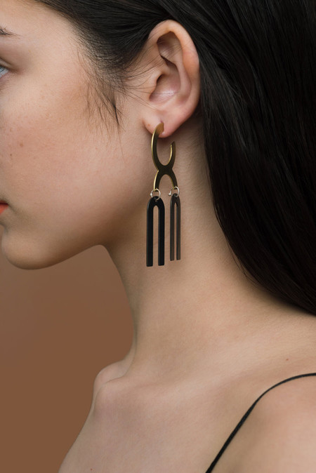 Natalie Joy Black Parallel Hoops