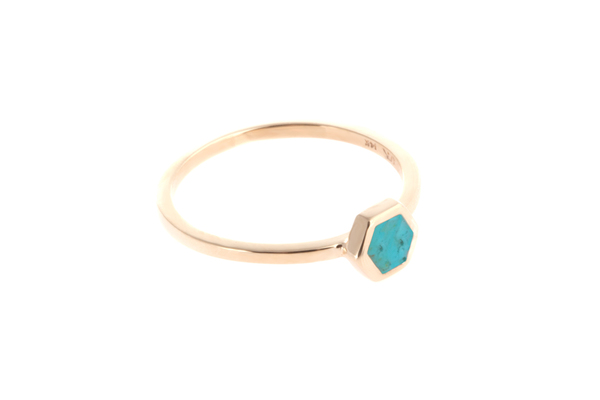 Shahla Karimi Mini Honey Ring with Turquoise