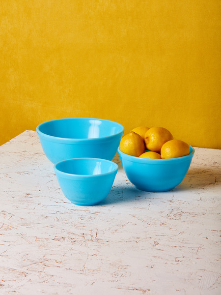 Mosser Glass Blue Milk Glass Mixing Bowl - Set of 3
