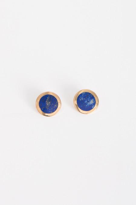 Pamela Love Crater Earrings in Brass w/ Lapis