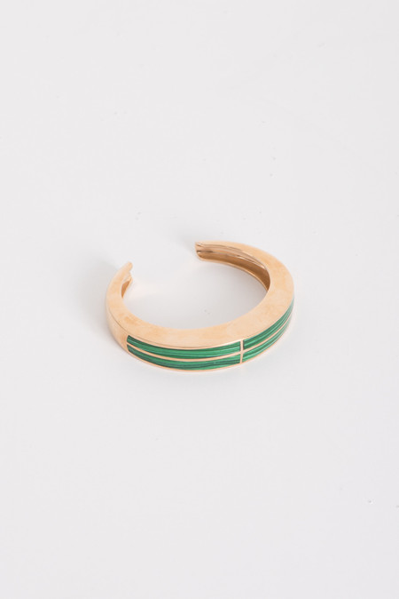 Pamela Love Inlay Cross Cuff in Brass w/ Malachite