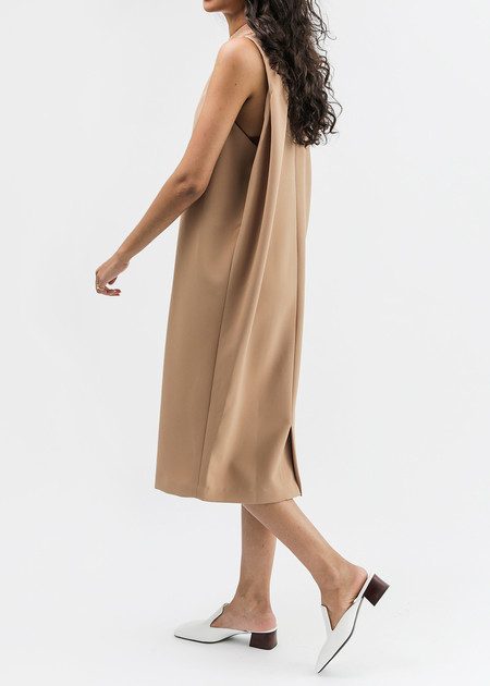 KAAREM Camel Dill High Collar Dress