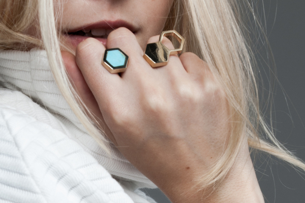 Shahla Karimi In-Between Honey Ring with Turquoise