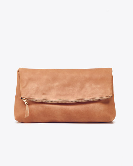 Nisolo Lima Clutch Almond with Navy