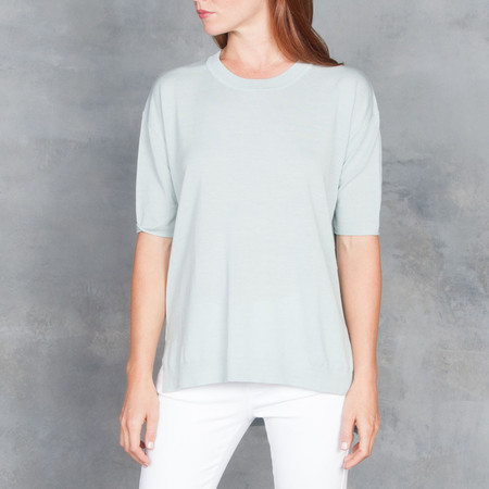Humanoid Doro Short Sleeve Sweater Top in MInt