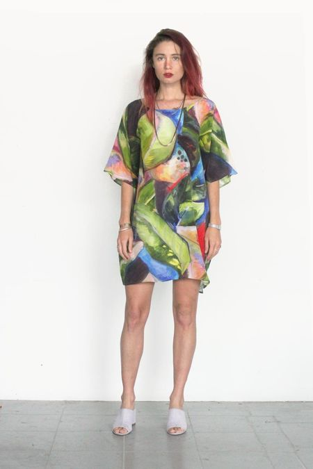 Strathcona Painted Palm Silk Tunic Dress