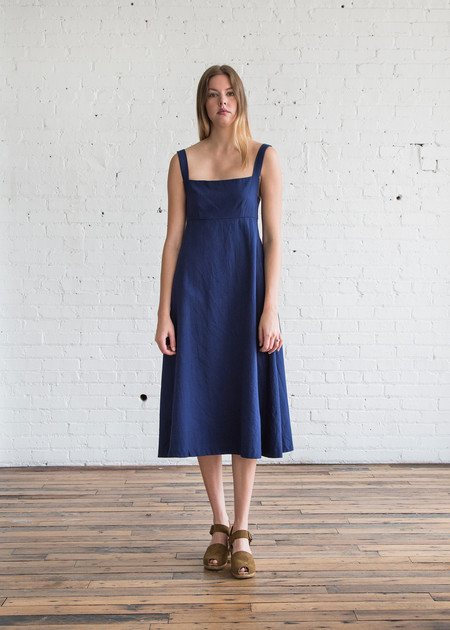 Caron Callahan Flora Dress in Indigo Twill
