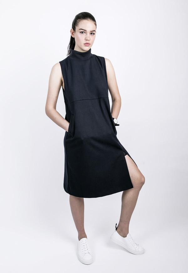Ribbed High Collar Dress