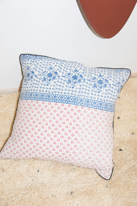 Heidi Merrick Red & Blue Patterned Pillow