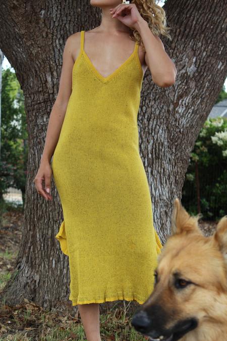 Maria Dora Cami Ruffle Dress Yellow Black