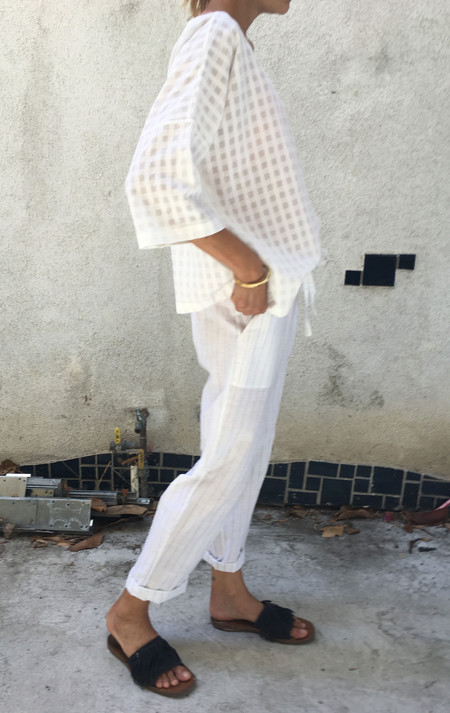Two New York Drawstring Pant with pockets in white