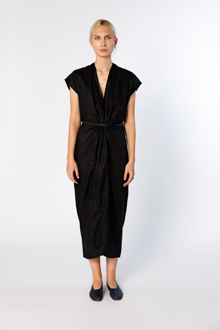 Miranda Bennett Knot Dress, Linen in Black