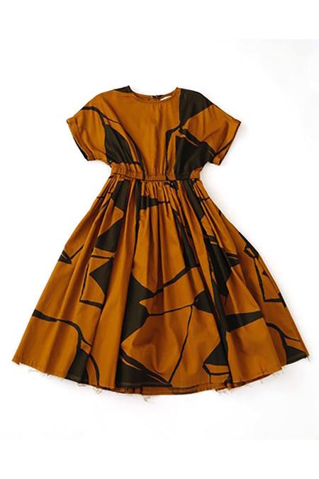 Kid's Black Crane Pleated Dress - Teak/Black