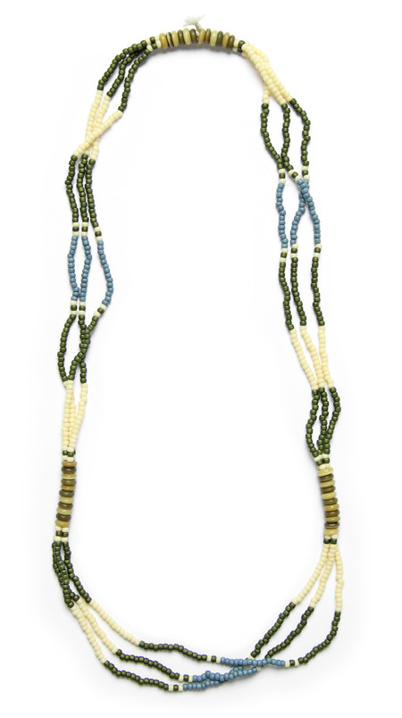 FORTUNE GOODS MONTAGNARD BEAD NECKLACE IN INDIGO / CREAM / GREEN / SAND