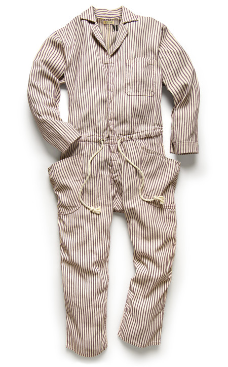 FORTUNE GOODS PLUM STRIPE COVERALL