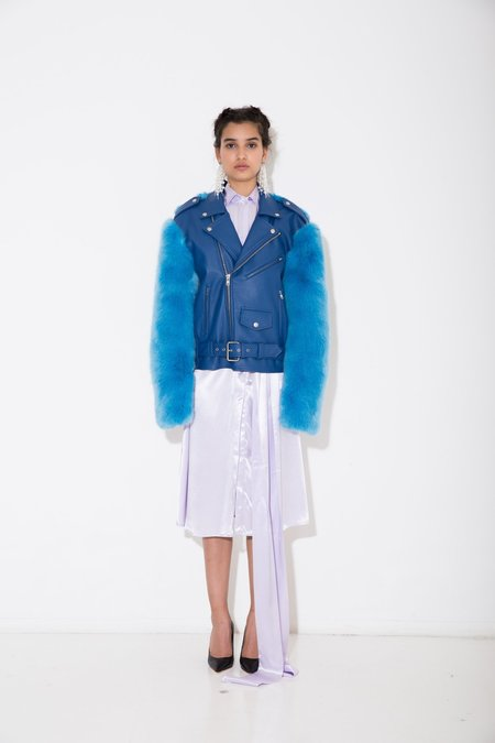 Nika Tang Blue Sienna Vegan Leather Coat