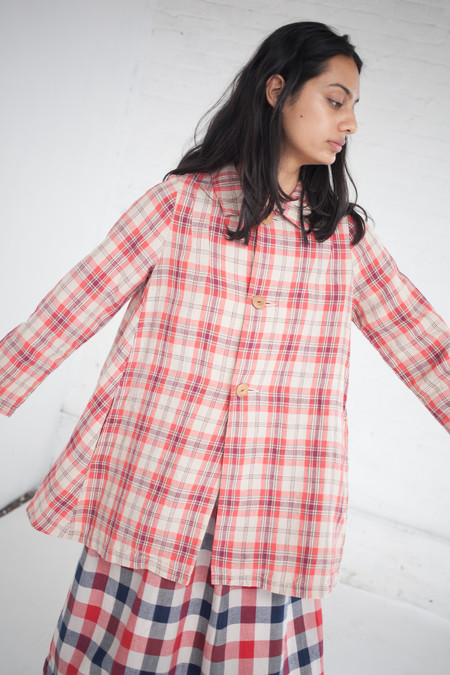 Visvim Linen Check Coat in Red