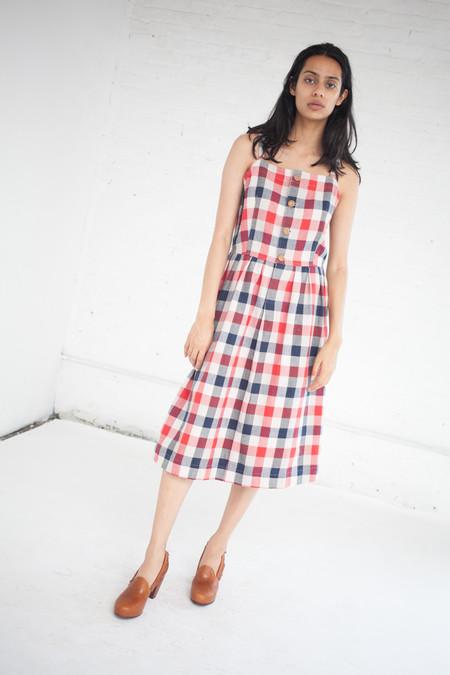 Visvim Riviera Dress in Red/Indigo Check